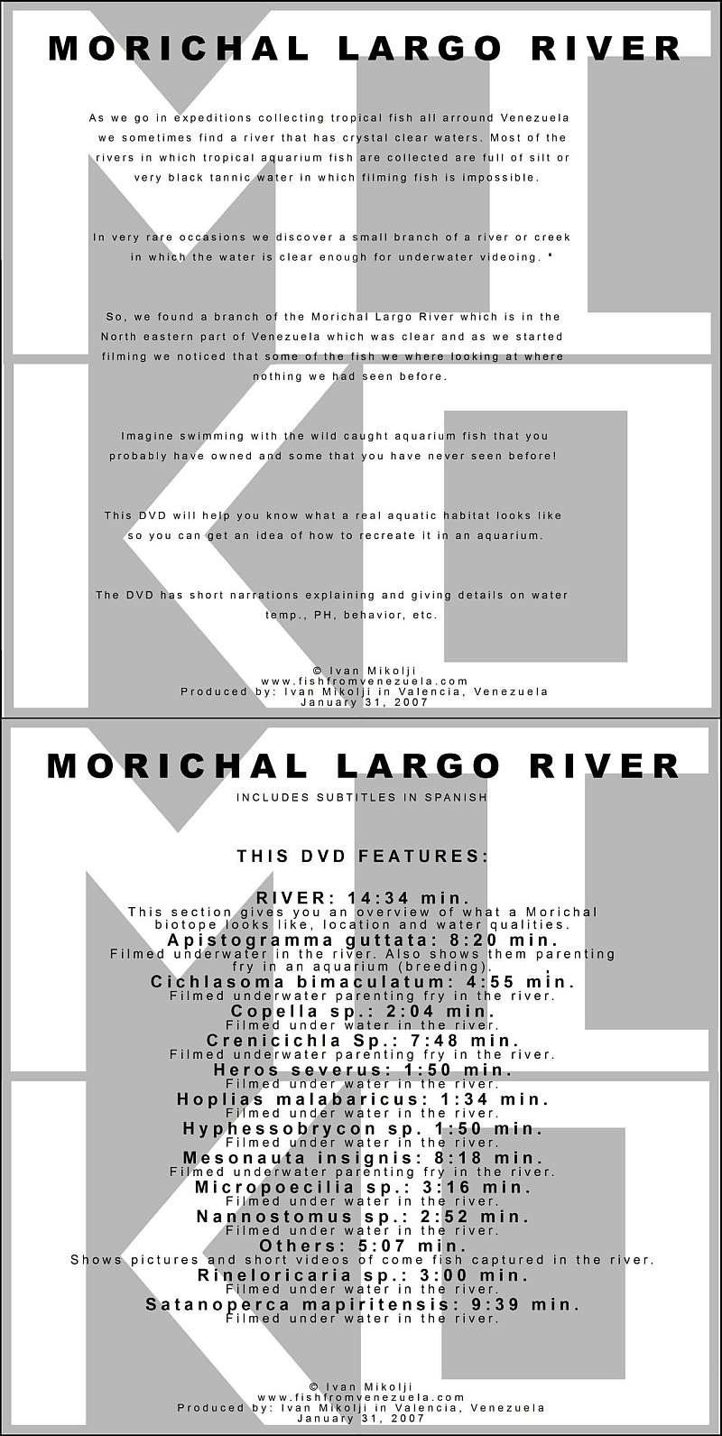 MORICHAL LARGO RIVER DVD COVERS